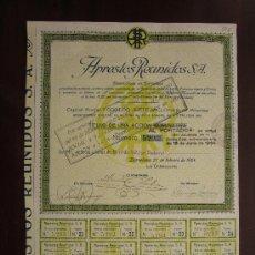 Colecionismo Ações Espanholas: ACCIÓN APRESTOS REUNIDOS S.A. BARCELONA, 1924. Lote 30823709