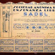 Colecionismo Ações Espanholas: ACCIÓN SOCIEDAD ANÓNIMA DE ENSEÑANZA LIBRE SADEL. MADRID, 1934. Lote 30849119