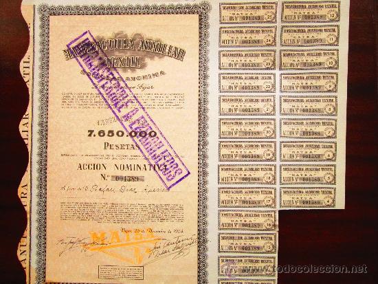 ACCIÓN MANUFACTURA AUXILIAR TEXTIL S.A. BÉJAR, 1954. (Coleccionismo - Acciones Españolas)