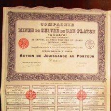 Coleccionismo Acciones Españolas: ACCIÓN COMPAGNE DES MINES DE CUIVRE DE SAN PLATON (HUELVA) PARIS, 1906. Lote 30853010