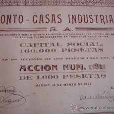 Coleccionismo Acciones Españolas: ACCIONES 60 UNIDADES FRONTO CASAS INDUSTRIALES 1946. Lote 30855854