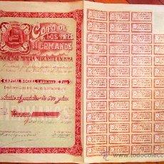 Coleccionismo Acciones Españolas: ACCIÓN COTO DE LOS TRES HERMANOS. SOCIEDAD MINERA MERCANTIL ANÓNIMA. MADRID, 1928.. Lote 30865604