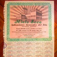 Coleccionismo Acciones Españolas: ACCIÓN HIELO SECO. APLICACIONES GENERALES DEL FRIO S.A. SAN SEBASTIÁN, 1939.. Lote 30865676