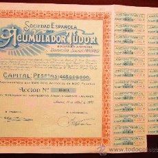 Coleccionismo Acciones Españolas: ACCIÓN SOCIEDAD ESPAÑOLA DEL ACUMULADOR TUDOR S.A. MADRID, 1970. Lote 281838573