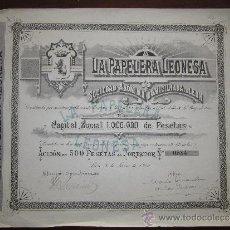 Coleccionismo Acciones Españolas: ACCIÓN LA PAPELERA LEONESA S.A. LEÓN, 1900.. Lote 30929250