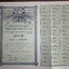 Coleccionismo Acciones Españolas: ACCIÓN S.A. HULLERA CATALANA-LEONESA. BARCELONA, 1907.. Lote 30996004