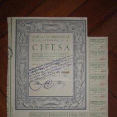 Coleccionismo Acciones Españolas: ACCIÓN COMPAÑÍA INDUSTRIAL FILM ESPAÑOL S.A. CIFESA. VALENCIA, 1943.. Lote 30996157