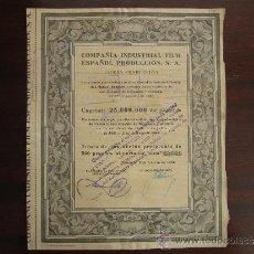Coleccionismo Acciones Españolas: ACCIÓN COMPAÑÍA INDUSTRIAL FILM ESPAÑOL PRODUCCIÓN S.A. VALENCIA, 1942. . Lote 30996168