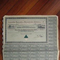 Coleccionismo Acciones Españolas: ACCIÓN COMPAÑÍA AUXILIAR DE NAVEGACIÓN Y DRAGADOS S.A. MADRID, 1929.. Lote 30996287