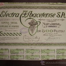 Coleccionismo Acciones Españolas: ACCIÓN ELECTRA ALBACETENSE S.A. ALBACETE, 1929. Lote 30996301