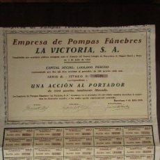 Coleccionismo Acciones Españolas: ACCIÓN EMPRESA DE POMPAS FÚNEBRES LA VICTORIA S.A. BARCELONA, 1928.. Lote 31004415