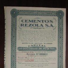 Collezionismo Azioni Spagnole: ACCIÓN CEMENTOS REZOLA S.A. MADRID, 1955.. Lote 31038620