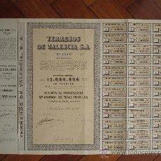 Coleccionismo Acciones Españolas: ACCIÓN TERRENOS DE VALENCIA S.A. MADRID, 1954.. Lote 31038885