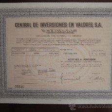 """Coleccionismo Acciones Españolas: ACCIÓN CENTRAL DE INVERSIONES EN VALORES S.A. """"CEIVASA"""". SANTANDER, 1982.. Lote 31068974"""