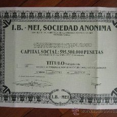 Coleccionismo Acciones Españolas: ACCIÓN I.B. - MEI, S.A. MOSTOLES, MADRID. 1967. Lote 31082344