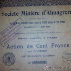 Coleccionismo Acciones Españolas: ACCION MINAS SOCIEDAD MINERA DE ALMAGRERA - ALMERÍA - ACCION 100 FRS - 1927. Lote 153345969