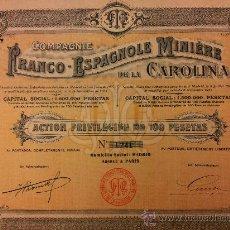 Coleccionismo Acciones Españolas: ACCION MINAS COMPAÑIA FRANCO ESPAÑOLA MINERA DE LA CAROLINA - ACC PRIV 100 PTAS - 1911. Lote 31113328