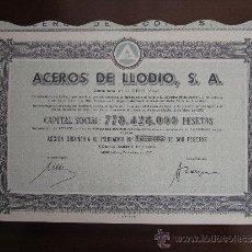 Coleccionismo Acciones Españolas: ACCIÓN ACEROS DE LLODIO S.A. LLODIO (ALAVA), 1977. Lote 31134460