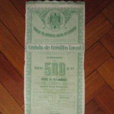 Coleccionismo Acciones Españolas: ACCIÓN BANCO DE CRÉDITO LOCAL DE ESPAÑA. MADRID, 1944.. Lote 31134624