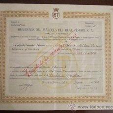 Coleccionismo Acciones Españolas: ACCIÓN HEREDEROS DEL MARQUÉS DEL REAL TESORO S.A. JEREZ DE LA FRONTERA, CÁDIZ 1955.. Lote 31154466