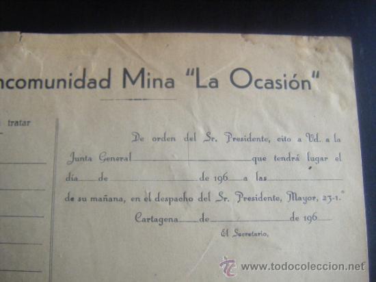 Coleccionismo Acciones Españolas: MINAS. MANCOMUNIDAD MINA LA OCASION. CARTAGENA.MURCIA - Foto 2 - 31271610