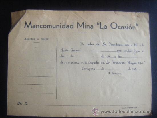 MINAS. MANCOMUNIDAD MINA LA OCASION. CARTAGENA.MURCIA (Coleccionismo - Acciones Españolas)