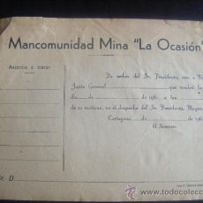 Coleccionismo Acciones Españolas: MINAS. MANCOMUNIDAD MINA LA OCASION. CARTAGENA.MURCIA. Lote 31271610