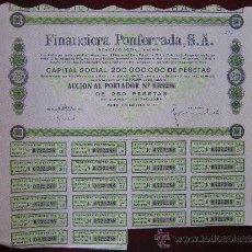 Coleccionismo Acciones Españolas: ACCIÓN FINANCIERA PONFERRADA S.A. MADRID, 1970.. Lote 31417280