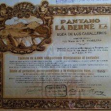 Coleccionismo Acciones Españolas: ACCION PANTANO LA BERNE - EJEA DE LOS CABALLEROS - ZARAGOZA - SEDE PAMPLONA¡. Lote 31566972
