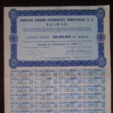 Coleccionismo Acciones Españolas: ACCIÓN FOMENTO AHORRO INVERSIONES MOBILIARIAS S.A. F.A.I.M.S.A. VALENCIA. Lote 31621545