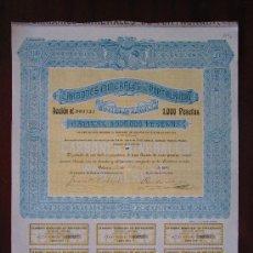 Coleccionismo Acciones Españolas: ACCIÓN CARBONES MINERALES DE PORTALRUBIO S.A. VALENCIA, 1918.. Lote 31652626