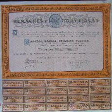 Coleccionismo Acciones Españolas: ACCIÓN REMACHES Y TORNILLOS S.A. BARCELONA, 1924.. Lote 245016475