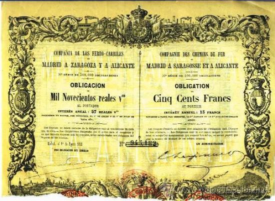 COMPAÑIA DE LOS FERRO-CARRILES DE MADRID A ZARAGOZA Y A ALICANTE (Coleccionismo - Acciones Españolas)
