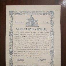 Coleccionismo Acciones Españolas: ACCIÓN SOCIEDAD MINERA JUSTICIA . CUEVAS (ALMERÍA), 1875.. Lote 32204721