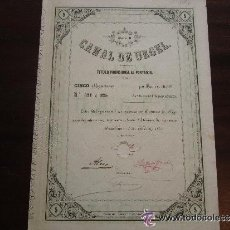 Coleccionismo Acciones Españolas: ACCIÓN CANAL DE URGEL. BARCELONA, 1860. Lote 32209427