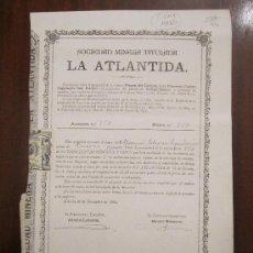 Coleccionismo Acciones Españolas: ACCIÓN SOCIEDAD MINERA TITULADA LA ATLANTIDA. ALMERÍA, 1895.. Lote 32211622