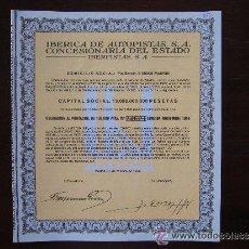 Coleccionismo Acciones Españolas: ACCIÓN IBÉRICA DE AUTOPISTAS S.A. CONCESIONARIA DEL ESTADO. IBERPISTAS, S.A. MADRID, 1986. VALOR NOM. Lote 32211861