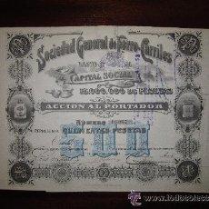 Coleccionismo Acciones Españolas: ACCIÓN SOCIEDAD GENERAL DE FERROCARRILES VASCO-ASTURIANA. OVIEDO, 1900. Lote 32216171