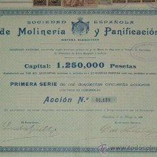 Coleccionismo Acciones Españolas: SOCIEDAD ESPAÑOLA DE MOLINERÍA Y PANIFICACIÓN - SISTEMA SCHWEITZER, BARCELONA (1899). Lote 32358136