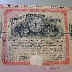 Coleccionismo Acciones Españolas: MINAS Y FERROCARRIL UTRILLAS 1902. Lote 32382341