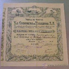 Coleccionismo Acciones Españolas: ACCIÓN LA CONCORDIA DE TARANCON S.A. 1928. Lote 32382419