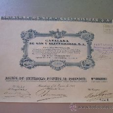 Coleccionismo Acciones Españolas: ACCIÓN DE CATALANA DE GAS Y ELECTRICIDAD S.A. 1913 SERIE E. Lote 32382995