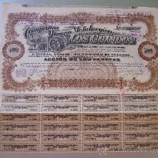 Coleccionismo Acciones Españolas: ACCIÓN COMPAÑIA MINERO METALURGICA LOS GUINDOS 1920. Lote 32383084