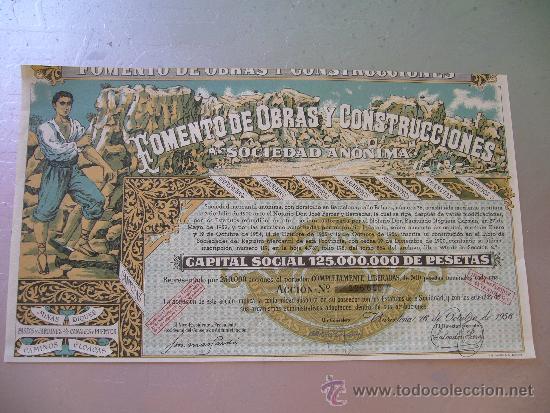 ACCIÓN FOMENTO DE OBRAS Y CONSTRUCCIONES 1956 (Coleccionismo - Acciones Españolas)