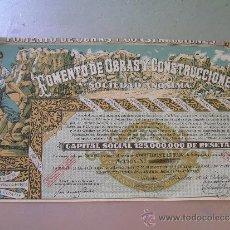 Coleccionismo Acciones Españolas: ACCIÓN FOMENTO DE OBRAS Y CONSTRUCCIONES 1956. Lote 32383357