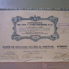 Coleccionismo Acciones Españolas: ACCIÓN DE CATALANA DE GAS Y ELECTRICIDAD S.A. 1913 SERIE E. Lote 32384082