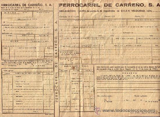 carta de porte de ferrocarril de carreño candas comprar acciones
