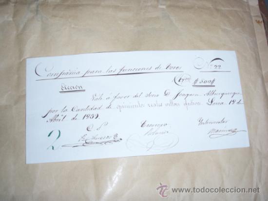 TOROS, ACCION MANUSCRITA 1839 PLAZA TOROS LORCA(MURCIA) PIEZA ÚNICA (Coleccionismo - Acciones Españolas)