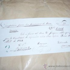 Coleccionismo Acciones Españolas: TOROS, ACCION MANUSCRITA 1839 PLAZA TOROS LORCA(MURCIA) PIEZA ÚNICA. Lote 32500611