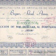 Coleccionismo Acciones Españolas: ACCIÓN DE MANUFACTURAS DE ARTICULOS DE VIAJE BAYER SA BARCELONA 1927. Lote 32534119